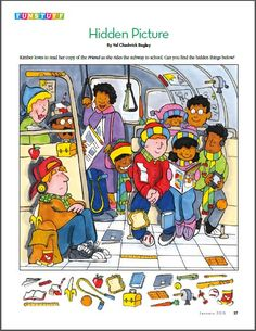 Hidden Picture- Reading the Friend on the Subway Hidden Object Puzzles, Hidden Picture Puzzles, French Lessons, English Lessons, Spanish Lessons, Find The Hidden Objects, Visual Perception Activities, Hidden Words, English Games