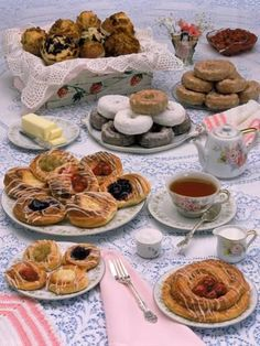 Photographic Print: Table Set with Tea and Various Pastries Poster by Katie Deits : - Desserts Paper Tea Cups, English Tea Cups, Tea Party Table, Fairy Tea Parties, Mouth Watering Food, Dinner Themes, Easter Brunch, Drinking Tea, Dessert Table