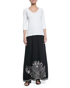 -5PGD JWLA for Johnny Was 3/4-Sleeve V-Neck Tee & Embroidered Linen Maxi Skirt