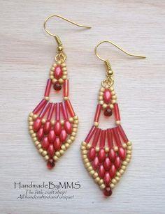 Lovely magenta super duo earrings Dangle earrings by HandmadeByMMS