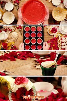 Receita completa de Cupcake com tema A Bela e a Fera! Lindo e saboroso!