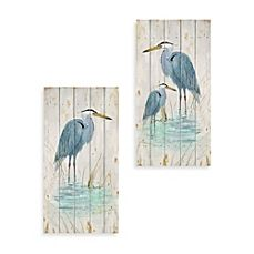 image of Blue Heron Wood Wall Plaques