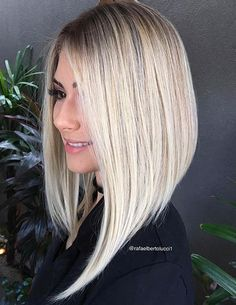 Long Angled Bob Haircut  #i love the deep angled cut!