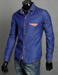 Men 's Long Sleeve Denim Shirt with Pockets