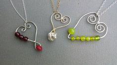 Valentine's Day silver wire gemstone heart by NataHandmadeJewelry