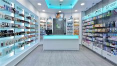 Glass shelves retail pharmacy interior… why custom design Retail Store Design, Retail Shop, Mobile Shop Design, Pharmacy Store, Pharmacy Humor, Showroom Interior Design, Medical Office Design, Store Layout, Counter Design