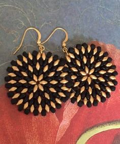 Seed Bead Earrings - Big Bold Black And Gold Disc Earrings - Beadwork Jewelry - Statement Jewelry