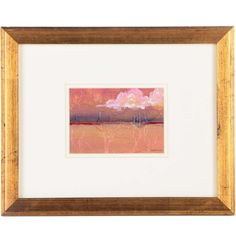 J. Gossman Mixed Media Painting on Paper of Clouds Over a Horizon