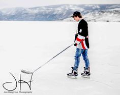 Senior Photography, Fashion Photography, Male Photography Outdoor Photography, Portrait Photography. Snow, Mountains. Ice. Hockey. Copyright Jen Hargrove Photography