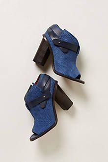 """Embossed Snake Shooties"" in navy, $188 at Anthropologie Corinne Madias"