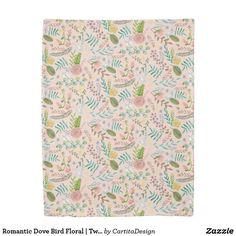 Romantic Dove Bird Floral | Twin Size Duvet Cover