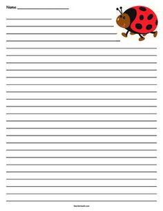 ladybug writing paper Lovely ladybugs line up on this printable letterhead free to download and print.