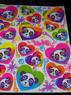 42001c5807c399 LISA FRANK stickers S162 Panda Painter s face on heart shaped stickers