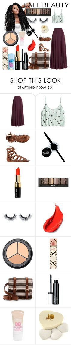 """""""Untitled #120"""" by missladycassie ❤ liked on Polyvore featuring beauty, Halston Heritage, H&M, O'Neill, Maybelline, Bobbi Brown Cosmetics, Aquolina, Sole Society, Clinique and The Konjac Sponge Co"""