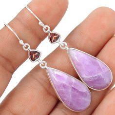 Genuine Kunzite Cabochons 925 Sterling Silver Earrings Jewelry SE111364 | eBay