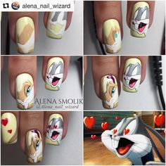 #Repost @alena_nail_wizard (@get_repost) ・・・ ❤️ #mk_alenasmolik #мультяшки_alenasmolik #мкногти #мультяшкинаногтях Рисунки вручную гель-лаками и гель-красками Nail Art Modele, Nail Art Dessin, Cute Nail Art, Cute Nails, Pretty Nails, Hard Nails, How To Do Nails, Nail Art Disney, Easter Nails