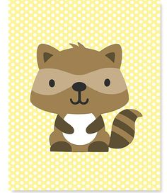 Raccoon Print Woodland Nursery Art Brown Yellow Print Forest Boy or Girl Gender Neutral 8 x 10 or 11 x 14 Print