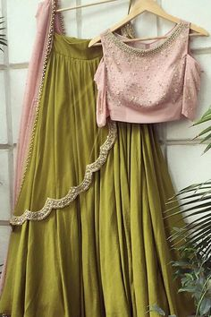 Olive Green And Pink Lehenga Online Shopping ,Indian Dresses - 1 Green Lehenga, Indian Lehenga, Lehenga Choli, Anarkali, Bridal Lehenga, Cotton Lehenga, Bridal Mehndi, Pakistani Dresses, Indian Dresses