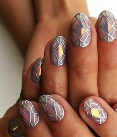 Unique metallic nail arts