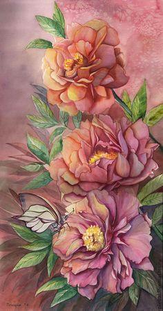 Картина акварелью Пионы и бабочка - коралловый,пион,цветок,картина с пионами