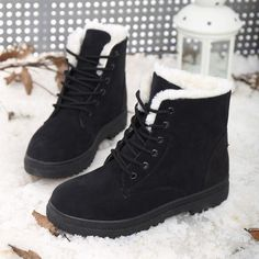 2016 New Hot Women Boots Snow Warm Winter Boots Botas Mujer Lace Up Fur Ankle Boots Ladies Winter Shoes Black Red High-Top Heels