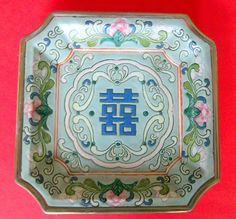 ANTIQUE CHINESE PLATE Dish Squared Floral Six Red Character Marks Scrolls Gilt Gilded Qing Tongzhi ? China Green Good Health Fortune Symbol by MADONNASCOLLECTIBLES on Etsy