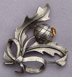 Vintage Topaz Scottish Thistle Ribbon Bow Brooch | eBay