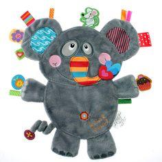 Doudou plat éléphant Friends : Label label - Doudou étiquettes - Berceau Magique