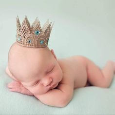 Champaign Teal Crown Boy Girl Newborn Crown Maternity Crown Newborn Prop Gender Reveal Newborn Photography by MiyahsCloset on Etsy