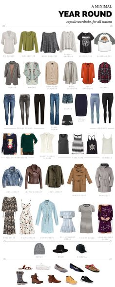 Year-Round Capsule Wardrobe - 39 items (**not including** shoes/accessories). I live in Colorado so I have more sweaters, jeans, and jackets for the cold weather!