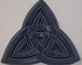 Ceramic Tile Celtic Trinity Knot Blue Iris, - aka Triquetra.