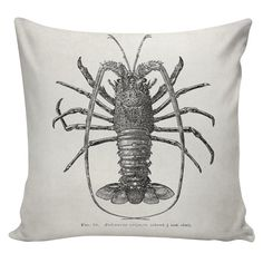 Lobster Pillow Cover cotton canvas throw pillow by UrbanElliott