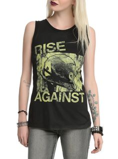 Black sleeveless top with Rise Against military helmet design on front.