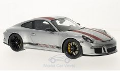 Modelcar - <strong>Porsche</strong> 911 R (991), silver/red, without showcase, 2017<br /><br />I-Spark, 1:18<br />No. 218019