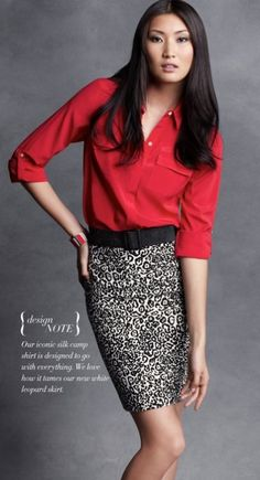 Who knew leopard could look this good? This color blouse is the perfect pop of color to a black and white skirt! Ann Taylor