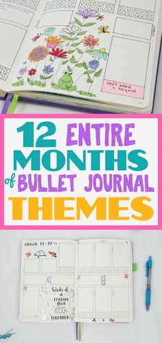 Bullet journal theme ideas to get you through an entire 12 months in your bullet journal! Never run out of themes again! Tons of ideas, inspiration, and terrific planner doodles.