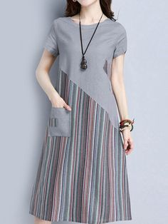 Striped Patchwork Short Sleeve O Neck Pocket Women Dresses Specification: Sleeve Length:Short Sleeve Neckline:O-neck Color:Gray,Navy Style:Striped,Printed Material:Cotton,Linen,Polyester Season:Summer Package included: Tips: The striped print is random. Simple Dresses, Nice Dresses, Casual Dresses, Short Sleeve Dresses, Dresses Dresses, Kurta Designs, Blouse Designs, Hijab Fashion, Fashion Dresses