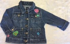 Baby Gap Girls Size 2T Denim Jean Jacket Valentines Day Candy Hearts Patches  | eBay