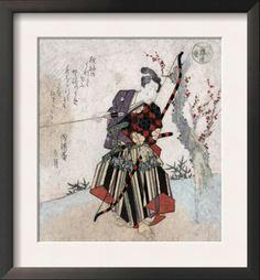 Wood block print of Japanese archery
