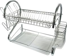 "Better Chef - 16"" Chrome Dish Rack - Chrome - Larger Front"