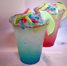 Sour Candy-Rita Cocktail - For more delicious recipes and drinks, visit us here: www.tipsybartender.com