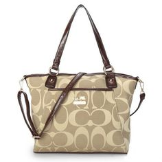 85b7525e398c  HighQualityCoach Coach Logo Monogram Medium Khaki Totes BKB Offers You  High Quality And Discount Price