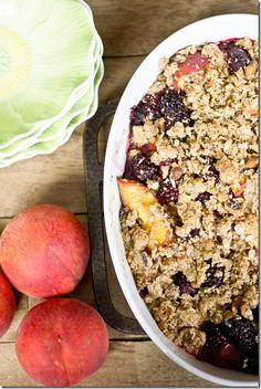 Blackberry, Peach and Pistachio Crisp {Gluten-free} from KeepItSweetDesserts.com