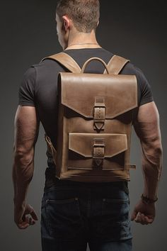 Leather backpack Man backpack Leather rucksack by HollaCompany Colorful Backpacks, Brown Backpacks, Leather Backpacks, Thick Leather, Leather Men, Cuir Vintage, Vintage Leather, Leather Backpack For Men, Rucksack Backpack