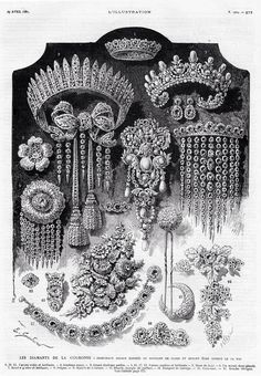 A contemporary illustration of the French Crown Jewels as displayed prior to their sale in 1887. Only the pearl tiara and bow brooch survive. The large pearl at the centre of the huge brooch in the middle is the Regente pearl- it was acquired by Faberge and sold to the Youssoupovs.