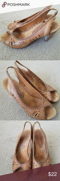 Gianni Bini Gianni bini leather open toed heels from Dillards department store . Used but I'm good condition . Gianni Bini Shoes Heels