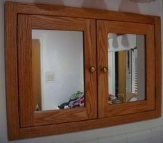 Recessed Double Door Medicine Cabinet Shown In Oak Wood Cabinets