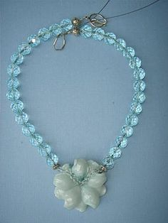 Aquamarine Jade Flower necklace #jadejewelry