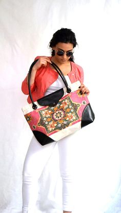 Canvas Leather Tote, Traditional Design Large Tote, Ethnic Tote, Beach Bag, Travel Bag, Shoulder Bag, Diaper Bag, Pink Green White Tan Brown