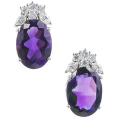 10.00 Carat Deep Purple Amethyst Diamond Gold Dangle Earrings | From a unique collection of vintage dangle-earrings at https://www.1stdibs.com/jewelry/earrings/dangle-earrings/